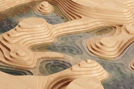 topology: Abstract landscape with levels of wood and clean water (3D Rendering)