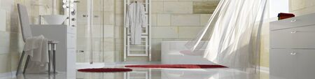 Panorama of a clean bath with terracotta tiles and a moving curtain (3D Rendering)