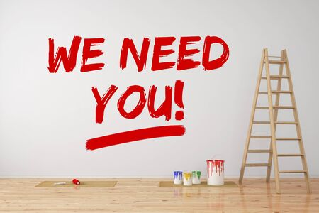 wall paint: Headhunter on personnel recruitment writing We need you on wall (3D Rendering) Stock Photo