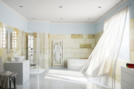bathroom tiles: Clean bathroom with terracotta tiles and moving curtains (3D Rendering)
