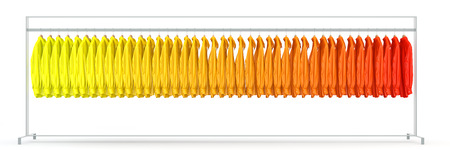 clothes rail: Panorama with many assorted shirts from yellow to red on clothes rail (3D Rendering) Stock Photo