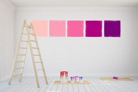 Wall color combination patterns during renovation (3D Rendering)