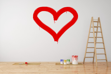 Cuore rosso dipinto su un muro come simbolo di amore durante la ristrutturazione (rendering 3D)