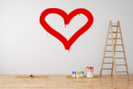 Red corazón pintado en una pared como símbolo de amor durante la renovación (3D Rendering)