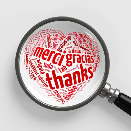 Thank you in many languages in heart shape under magnifying glass (3D Rendering)
