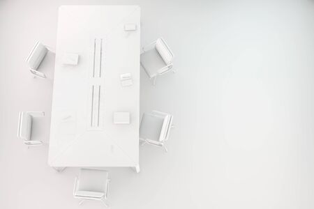 conference room table: Conference room with table and chairs in white from above (3D Rendering)