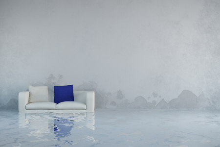Dégâts d'eau après les inondations dans la maison avec de la moisissure sur les murs (rendu 3D)