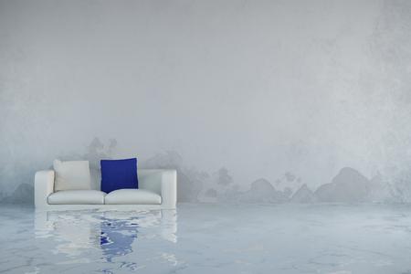 Dégâts d'eau après les inondations dans la maison avec de la moisissure sur les murs (rendu 3D) Banque d'images - 57526736