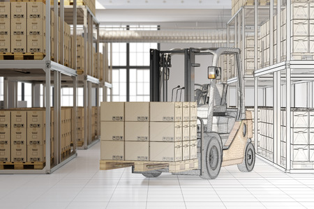 forwarding agency: CAD planning of mail order warehouse with forklift and many boxes (3D Rendering)