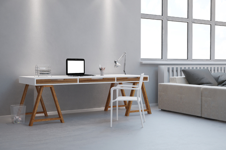 Small desk as home office with laptop computer in a living room (3D Rendering) Stock Photo