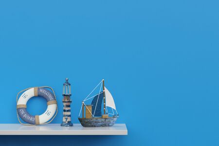 shelf: Maritime souvenirs of a cruise on a shelf in front of a blue wall (3D Rendering) Stock Photo