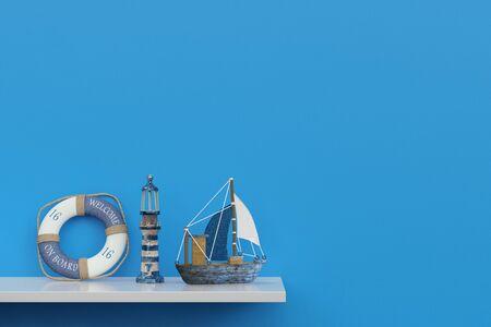 recuerdos marítimas de un crucero en un estante delante de una pared azul (3D)