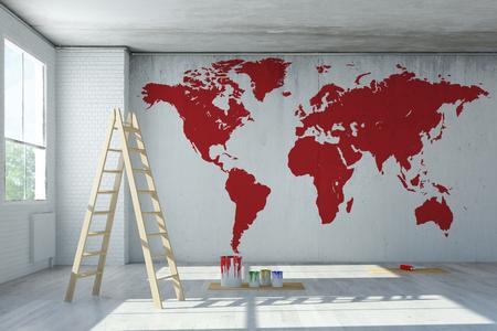 Große rote Weltkarte gemalt an der Wand in einem Raum (3D-Rendering) Standard-Bild - 57254254
