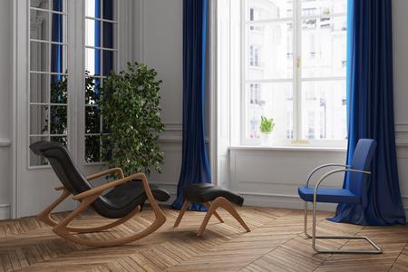Ruimte voor psychotherapie met stoel en een schommelstoel (3D rendering)
