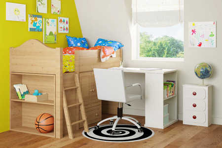 Interior with loft bed and desk in a nursery room (3D Rendering)