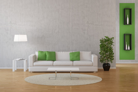 inside house: Interior of living room with sofa and carpet with green decoration (3D Rendering) Stock Photo
