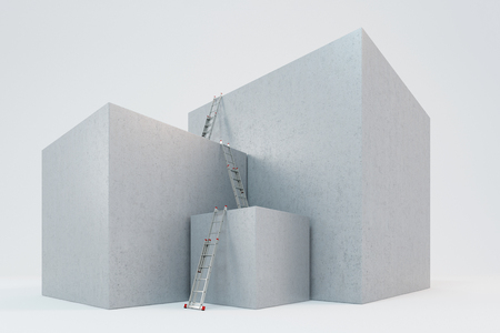 slopes: Ladders on three big blocks as concept for success (3D Rendering)