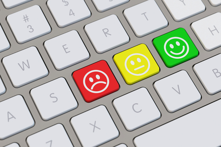 laptop computers: Smiley assessment keyboard concept with three moods displayed (3D Rendering)