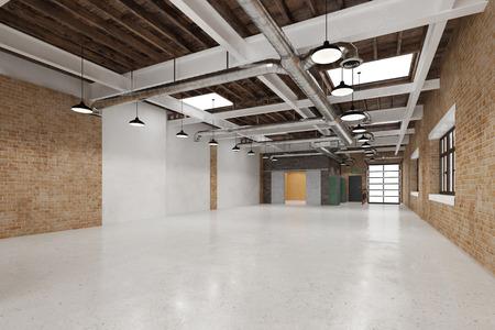 Lege schone grote industrie warehouse voor zakelijk gebruik (3D rendering)