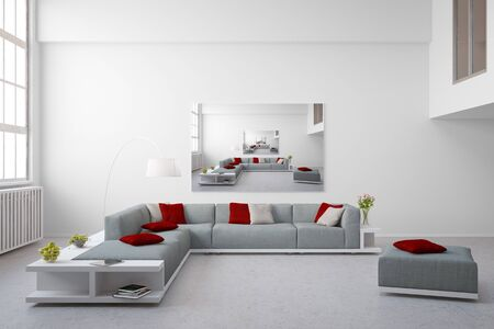 exposed concrete: Image in image on a canvas on a wall in a bright loft (3D Rendering)