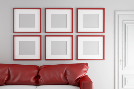 living room wall: Six red square picture frames on a wall in the living room (3D Rendering) Stock Photo