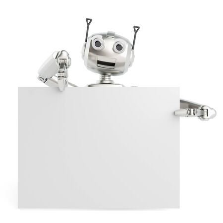 chrome man: 3D robot holding empty white billboard sign for a presentation (3D Rendering)