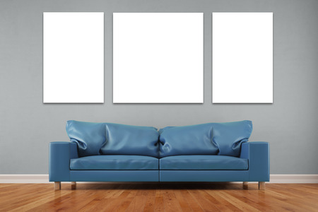 canvas: White three piece canvas over sofa in a living room on wall (3D Rendering) Stock Photo