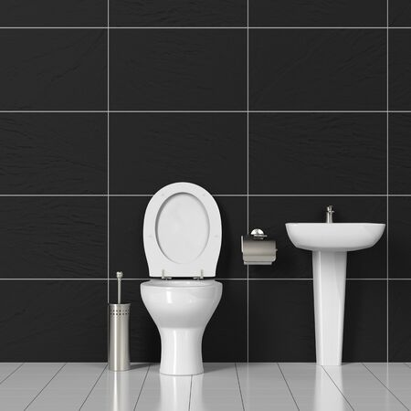 loo: Toilet and sink in a WC bathroom with black tiles (3D Rendering)