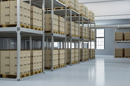 freight traffic: Storage warehouse of a shipping company with many boxes (3D Rendering) Stock Photo