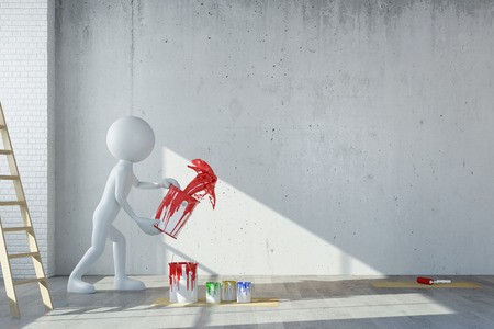 office space: White 3D guy throwing red paint on wall during renovation (3D Rendering) Stock Photo