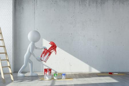 Witte 3D guy gooien rode verf op de muur tijdens de renovatie (3D rendering)