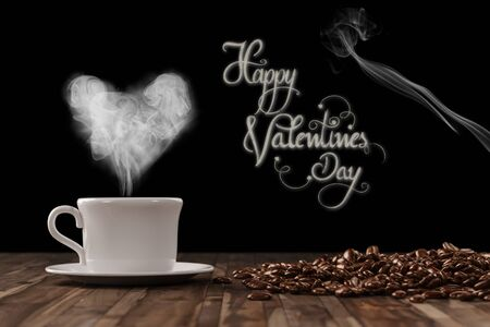 valentine day cup of coffee: Heart on freshly roasted cup of coffee for Valentines Day (3D Rendering)