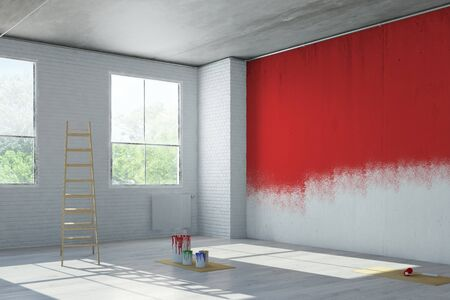 renovating: Red wall paint during renovation in an old loft building (3D Rendering)