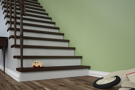 tripping: Dangerous tripping hazard with toy on stairs in a house (3D Rendering) Stock Photo