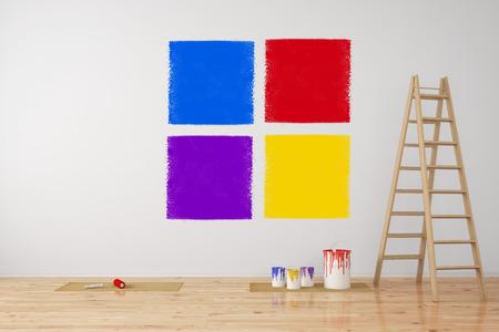 (3 D レンダリング) の改修中の壁に別の色の選択