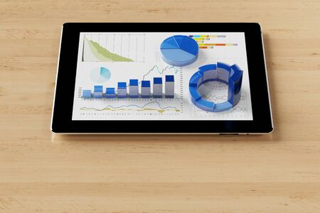 computer data: Tablet computer with financial analysis data on a desk (3D Rendering)