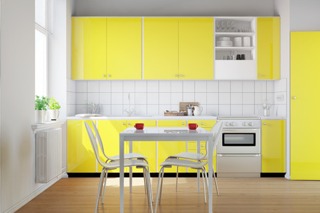 kitchenette: Yellow kitchenette in a small kitchen with breakfast table (3D Rendering)