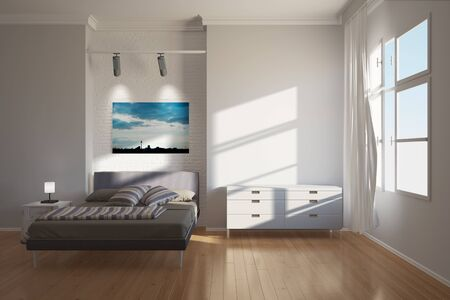 bright light: Modern bright hotel interior in Berlin with bed and furniture (3D Rendering) Stock Photo