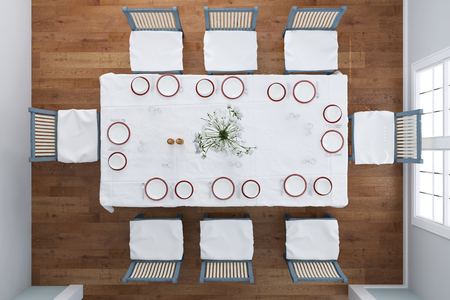plan view: Top view on set table with dishes and cutlery in dining room (3D Rendering) Stock Photo