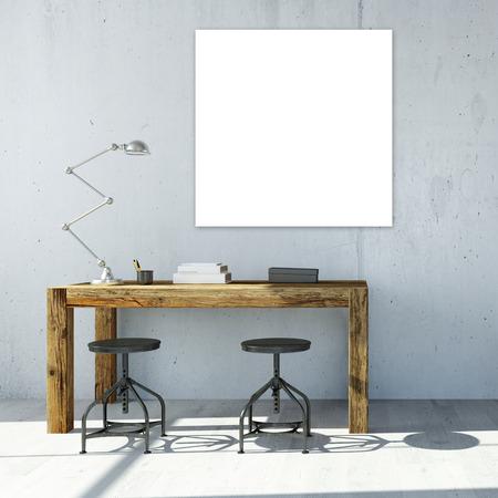 Blanc canavas carrés vides suspendus sur le mur dans le bureau (rendu 3D) Banque d'images