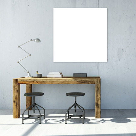 Study Desk: White empty square canavas hanging on wall in office (3D Rendering)