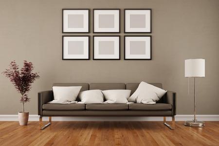 Pared con seis marcos vacíos en la sala de estar bajo un sofá (3D)