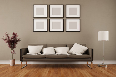 acer: Wall with six empty picture frames in living room under a sofa (3D Rendering)