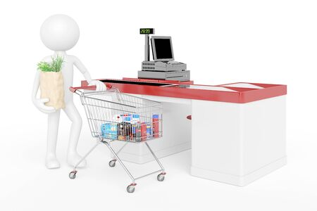 supermarket checkout: White 3D guy with shopping cart in supermarket at checkout (3D Rendering)