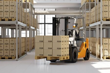 freight traffic: Forklift in warehouse with many boxes on pallet (3D Rendering) Stock Photo