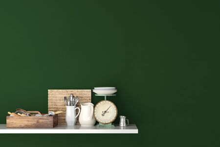 household goods: Shelf in kitchen on a green wall with household goods (3D Rendering) Stock Photo