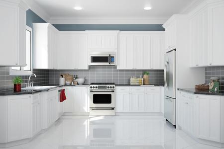 Intérieur de la nouvelle cuisine blanche avec des carreaux de cuisine et de nettoyage (rendu 3D)