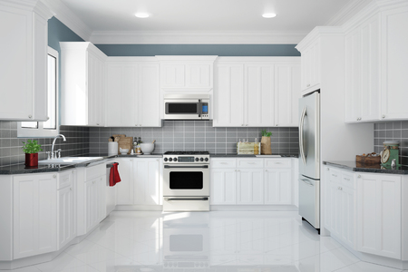 white kitchen: Interior of new white kitchen with kitchenware and clean tiles (3D Rendering)