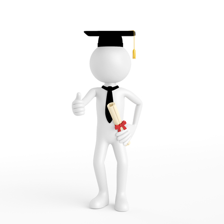 postgraduate: 3D guy as doctorate during university graduation holding his thumbs up (3D Rendering) Stock Photo