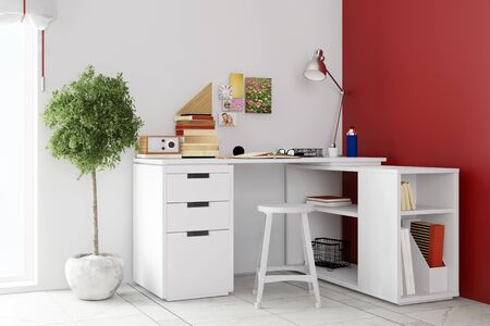 Study Desk: Small desk in living room for home office on a wall (3D Rendering) Stock Photo